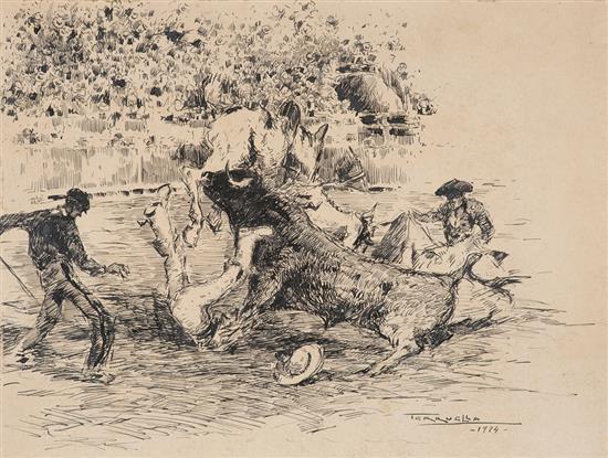 Joaquim Terruella Matilla Barcelona 1891 - 1956 Escenas taurinas Un dibujo a tinta sobre cartón y un aguafuerte