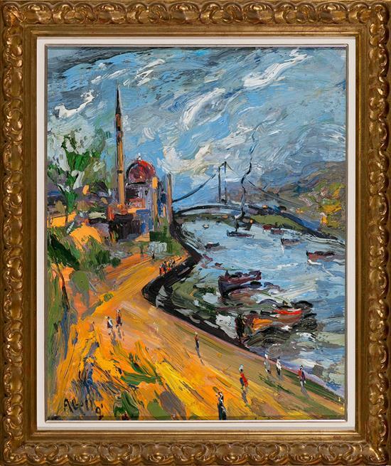 Joan Abelló Mollet del Vallés 1922 - Barcelona 2008 Vista de Estambul Óleo sobre lienzo