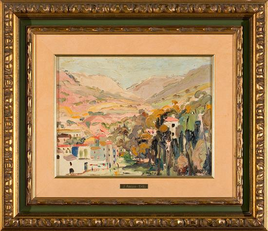 Joan Abelló Mollet del Vallés 1922 - Barcelona 2008 Paisaje Óleo sobre lienzo pegado a tabla