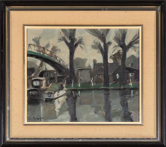 Antoni Vives Fierro Barcelona 1940 Vista fluvial Óleo sobre lienzo