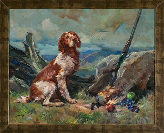 Josep Serrasanta Buenos Aires 1916 - Barcelona 1998 Perro con motín de caza Óleo sobre lienzo