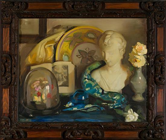 Francisco Soria Aedo Granada 1898 - Madrid 1965 Bodegón con busto Óleo sobre lienzo