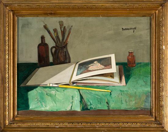 Rafael Durancamps Sabadell 1891 - 1979 Bodegón con libro Óleo sobre lienzo
