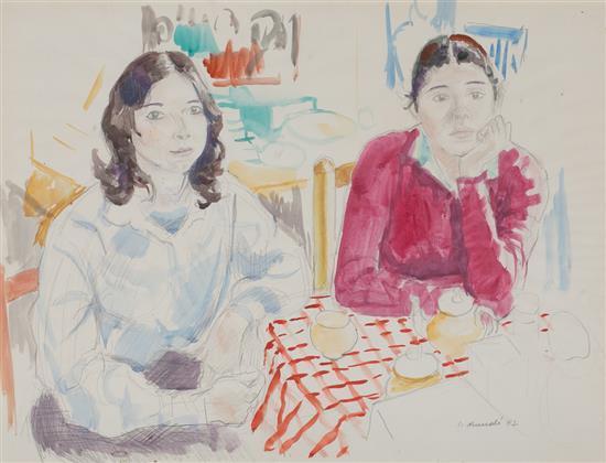 Ignasi Mundó Barcelona 1918 - 2012 Dos jóvenes Acuarela y lápiz sobre papel