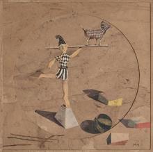 Miguel Rasero Córdoba 1955 Equilibrista Collage y pintura sobre tabla