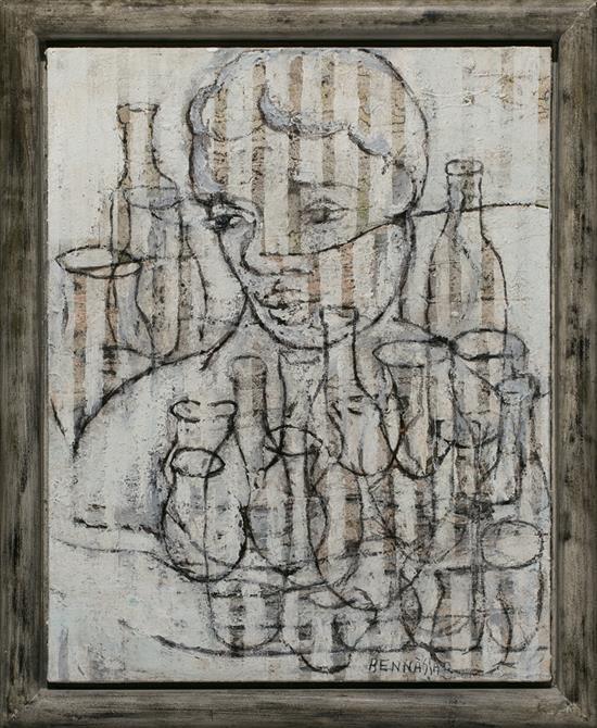 Joan Bennàssar Pollença 1950 Niño y botellas Técnica mixta sobre lienzo
