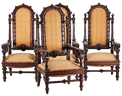 Francesc Vidal Jevellí Barcelona 1847 - 1914 Juego de cuatro sillones