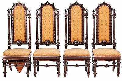 Francesc Vidal Jevellí Barcelona 1847 - 1914. Juego de cuatro sillas