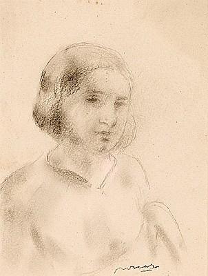Juan Bautista Porcar Castellón de la Plana 1888 - 1974. Una joven Dibujo a lápiz sobre papel
