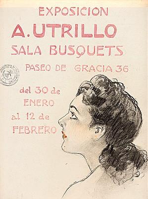 Antoni Utrillo Viadera Barcelona 1867 - 1944. Dibujo al carboncillo y acuarela