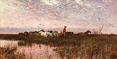 Josep Armet (Barcelona,1843-1911) Vista fluvial con caballos Óleo sobre lienzo