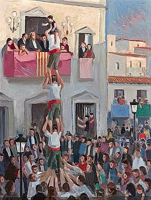 Alfredo Opisso Cardona Barcelona 1907 - 1980. Castellers Óleo sobre táblex