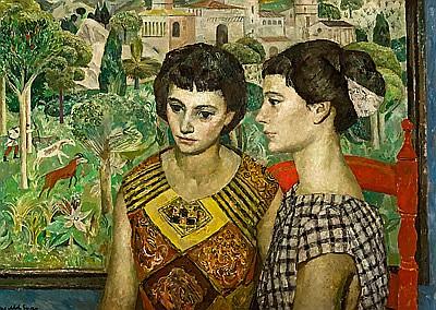 Josep Maria Mallol Suazo Barcelona 1910 - 1986. Dos jóvenes Óleo sobre lienzo