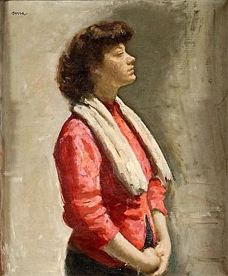 Francesc Serra Castellet Barcelona 1912 - Tossa de Mar 1976. Una joven Óleo sobre lienzo