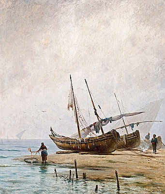 Ricard Urgell Carreras Barcelona 1874 - 1924. Marina Óleo sobre lienzo