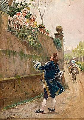 Cristóbal Alandi Tarragona 1856 - Barcelona 1896. Escena galante Óleo sobre lienzo/tabla