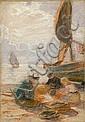 Dionís Baixeras Barcelona 1862 - 1943. Pescadores en la playa Pastel sobre papel, Dionís Baixeras