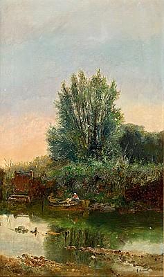 Josep Armet (Barcelona,1843-1911) Vista fluvial Óleo sobre lienzo
