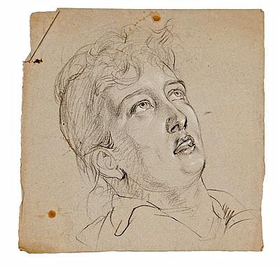 Ramon Martí Alsina Barcelona 1826 - 1894. Estudio de cabeza Dibujo al carboncillo/clarión