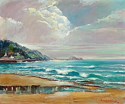 Jesús Apellaniz Vitoria 1898 - 1969. Marina Óleo sobre lienzo