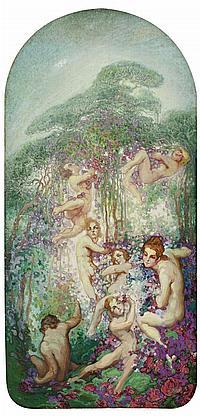 """Néstor Martín Fernández de la Torre, """"Néstor"""" Las Palmas de Gran Canaria 1887 - 1938 Alegoría y Frutas Dos óleos sobre lienzo pegado..."""