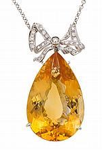 Colgante de citrino y diamantes