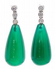 Pendientes colgantes de ágatas verdes y diamantes