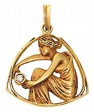 Attributed to Lluís Masriera Rosés Barcelona 1872 - 1958 Early 20th Century nymph pendant