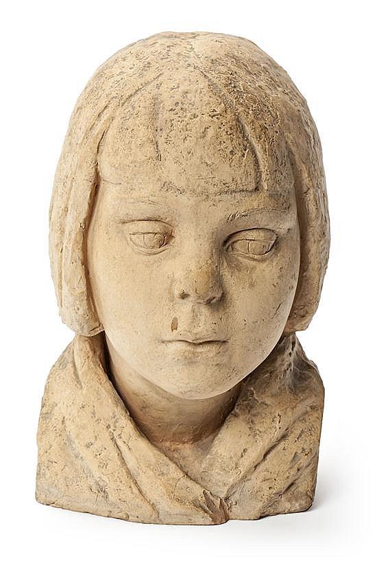 Martí Llauradó Mariscot Barcelona 1903 - 1957 Niña Busto en terracota