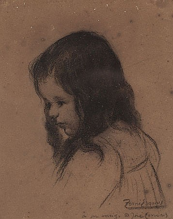 Pere Torné Esquius Barcelona 1879 - Flavancourt 1936 Niña Dibujo al carboncillo sobre papel