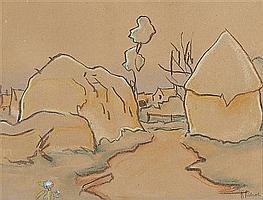 Ramón Pichot Gironés Barcelona 1872 - 1925 Vista rural Dibujo al carboncillo y pastel sobre papel