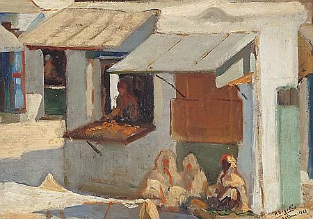 Rafael Argelés Escriche Algeciras 1894 - Buenos Aires 1979 Escena urbana en Tetuán Óleo sobre lienzo pegado a cartón