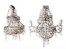 Pareja de lámparas de techo con sartas de cuentas en cristal, de principios del siglo XX
