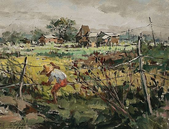 Gabriel Custodio Tanza 1912 - Quezon City 1993 Escena rural filipina Óleo sobre lienzo