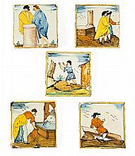 "Cinco azulejos catalanes ""d'arts i oficis"