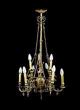 Lámpara de techo de gas en bronce dorado, de finales del siglo XIX