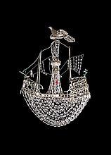 Gran lámpara de techo en forma de barco con sartas de cuentas en cristal tallado, del siglo XIX