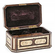 A wood English-Indian box with engraved bones inlays, from the 19th Century