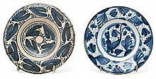 Dos platos en loza aragoneses, del siglo XVII
