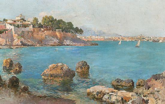 Llorenç Cerdà Bisbal Pollença 1872 - Palma 1955 Costa mallorquina Óleo sobre lienzo