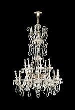 Gran lámpara de techo en cristal tallado, de finales del siglo XIX-principios del siglo XX