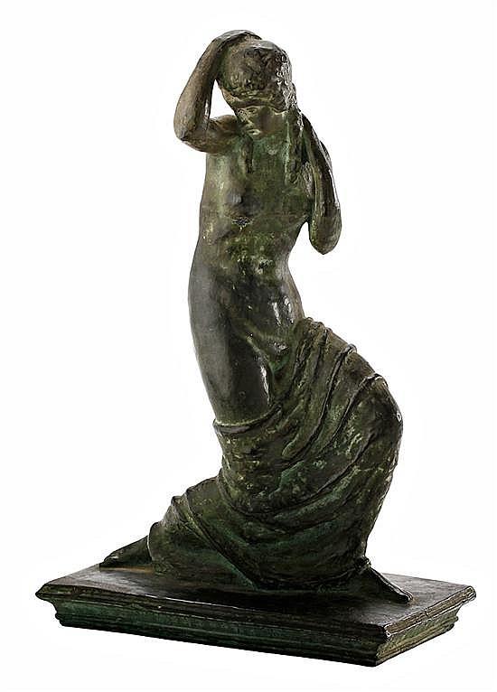 Fidel Aguilar Girona1894-1917 Joven clásica Escultura en cerámica argerata de Quart.
