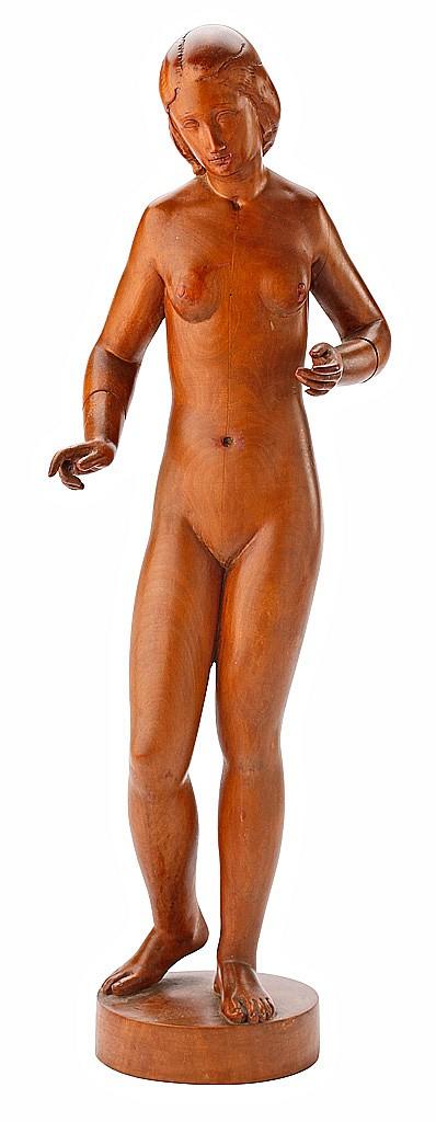 Josep Viladomat Massanes Manlleu 1899 - Andorra 1989. Joven desnuda Escultura en madera de boj.