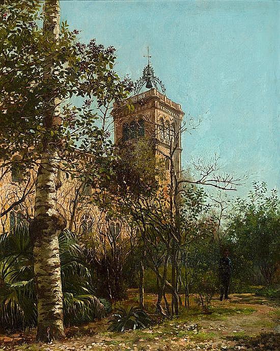 Félix Mestres Borrell Barcelona 1872 - 1933 Patio de la universidad, Barcelona Óleo sobre lienzo