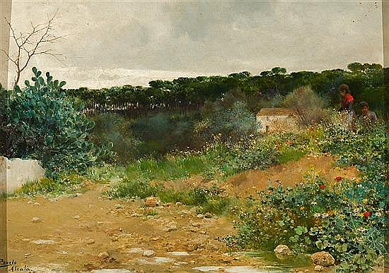 José Pinelo Llull Cádiz 1861 - Sevilla 1922 Paisaje de Alcalá de Guadaira Óleo sobre tabla
