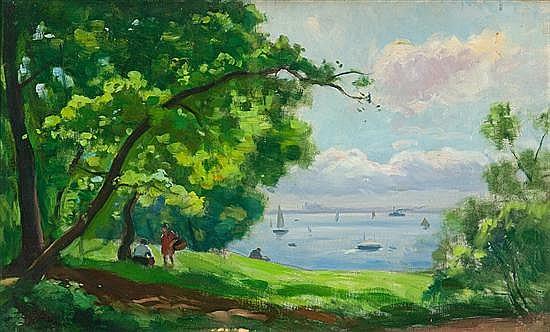 Enric Galwey Barcelona 1864 - 1943 Vista de la costa mallorquina Oleo sobre lienzo