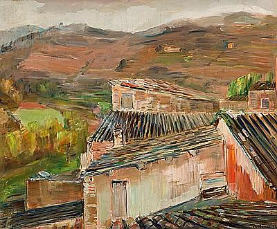 Rafael Benet Vancells Terrassa 1889 - Barcelona 1979 Vista rural Óleo sobre lienzo