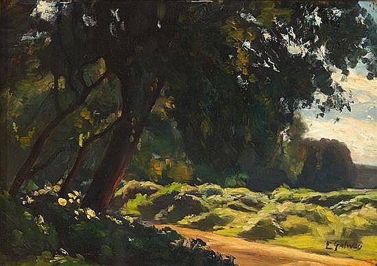 Enric Galwey Barcelona 1864 - 1943 Paisaje Óleo sobre lienzo