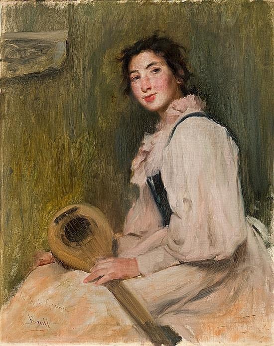 Joan Brull Barcelona 1863 - 1912 Joven con mandolina Óleo sobre lienzo