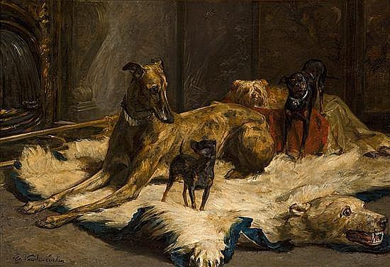 Charles van den Eycken Amberes 1859 - Bruselas 1923 Perros en un interior Óleo sobre lienzo